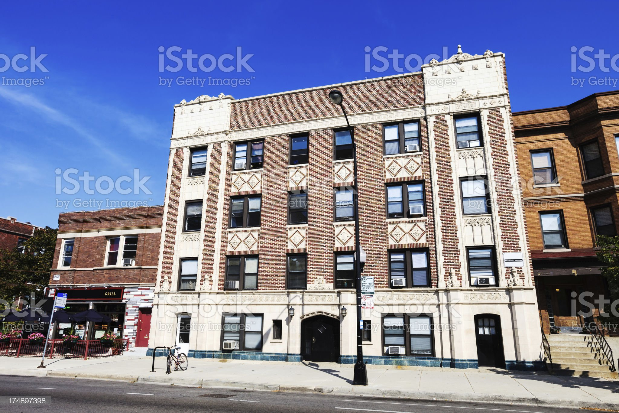 Ornate apartment building in Lincoln Square, Chicago royalty-free stock photo