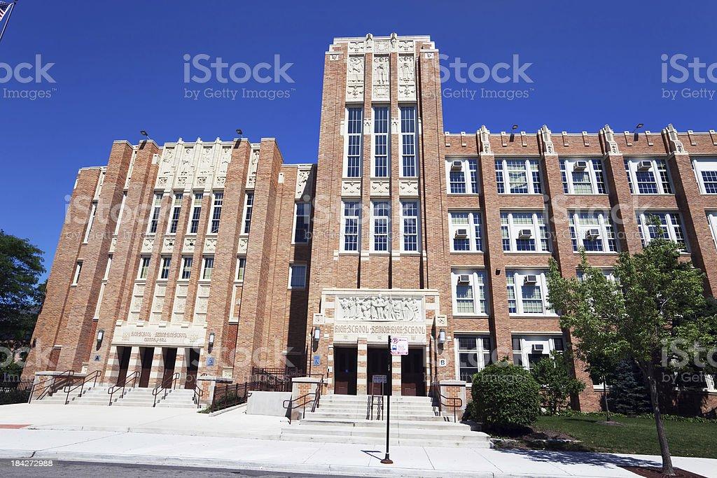 Ornate Art Deco Senior High School in Chicago stock photo