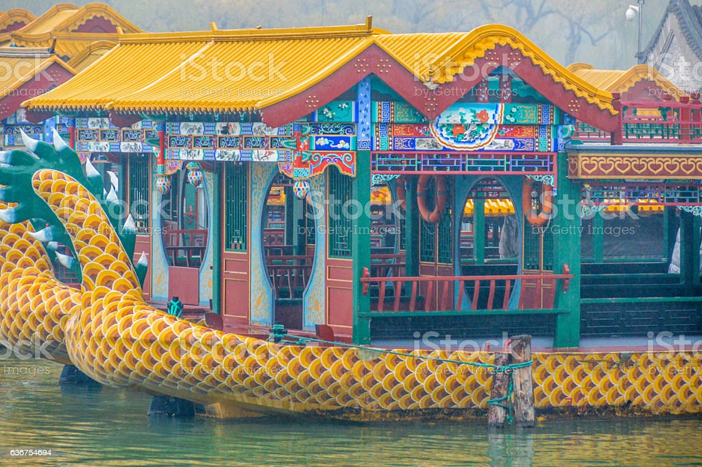 Ornate boats at the Summer Palace in Beijing, China stock photo