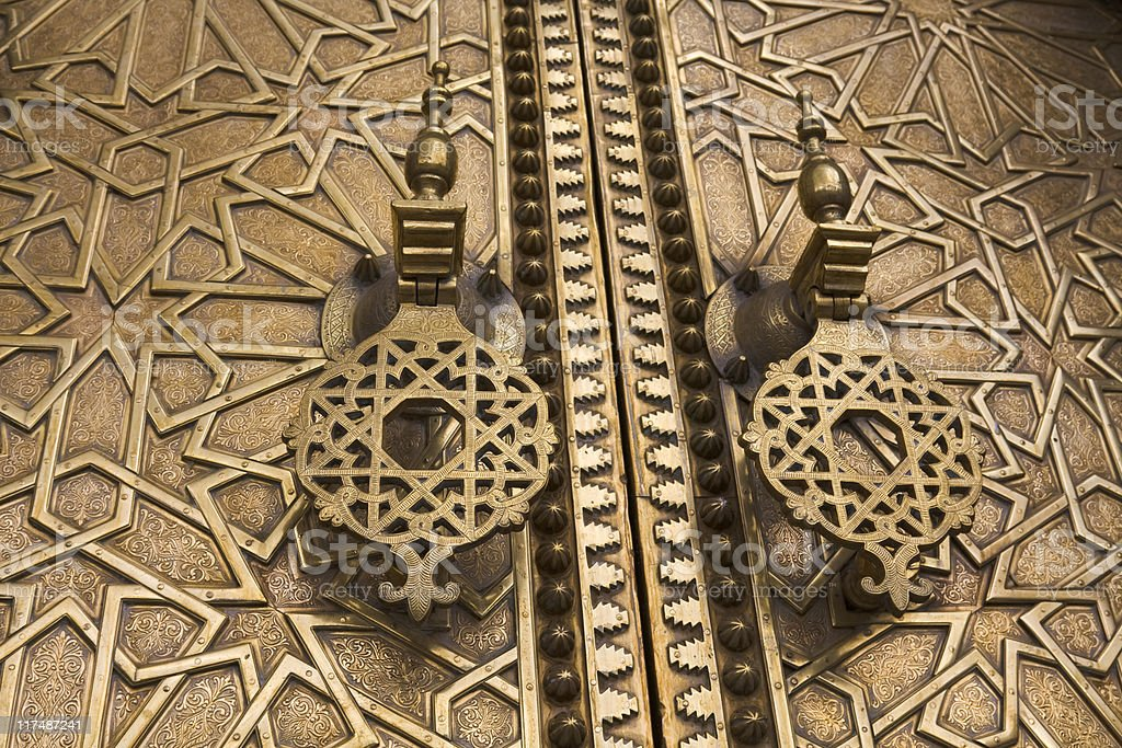 Ornate brass entrance doors, Morocco. royalty-free stock photo