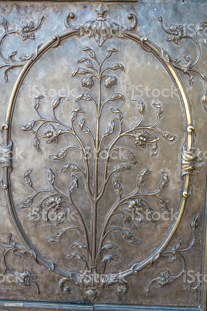 Ornate Bronze Door at the Red Fort, New Delhi stock photo
