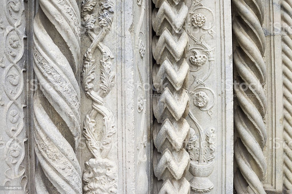 Ornate, Carved Jambs, Como Cathedral stock photo