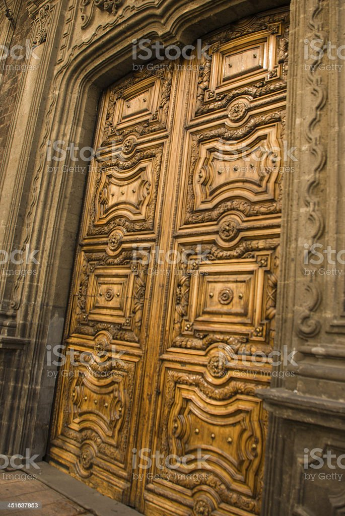 Ornate Carved Wooden Door and Entrance Mexico City stock photo