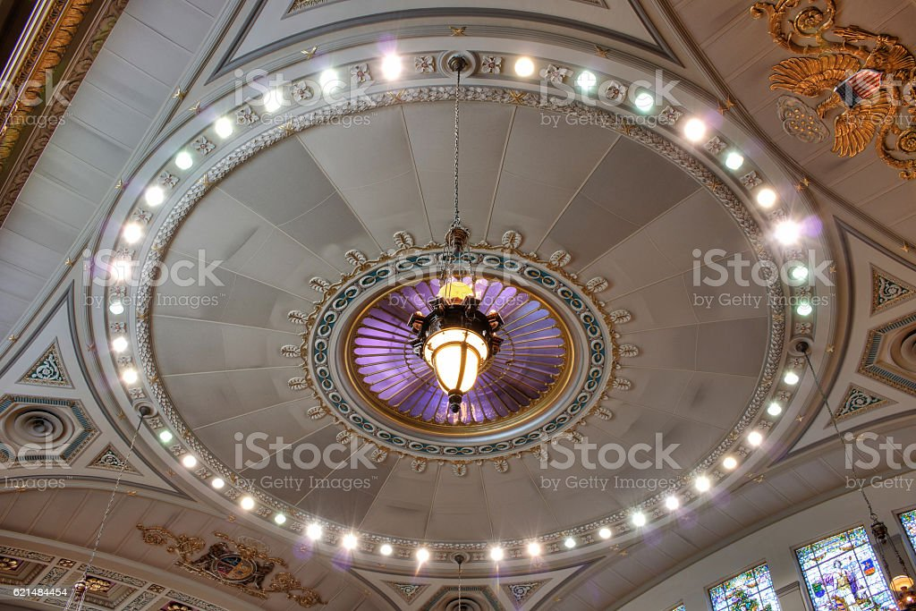Ornate Ceiling in Missouri House Chamber stock photo