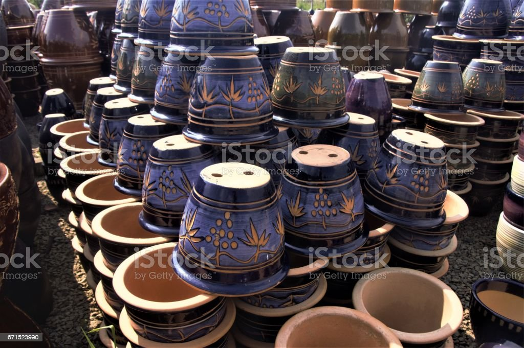 Ornate ceramic plant pots - Blue stock photo