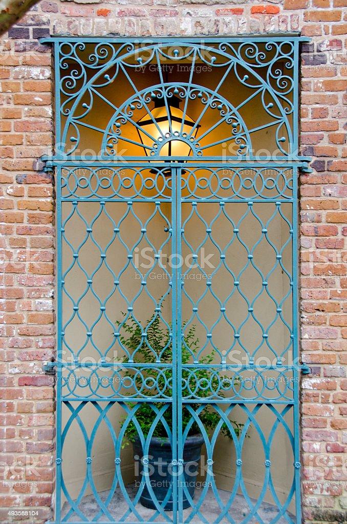 Ornate Charleston Courtyard Gate stock photo