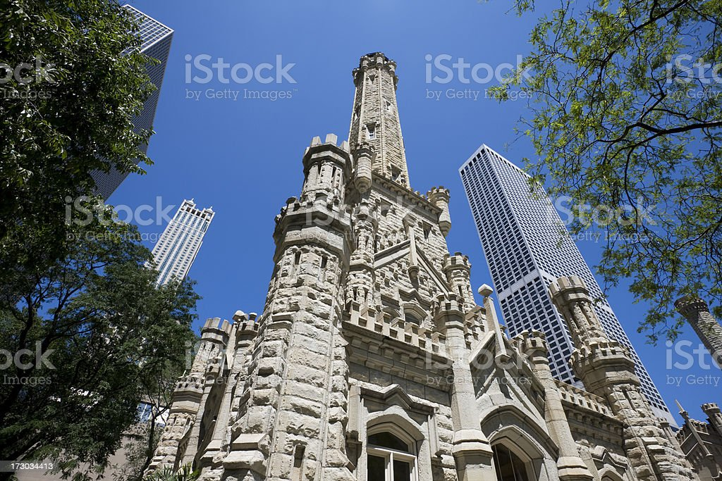 Ornate Chicago Water Tower stock photo