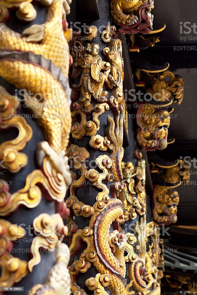 Ornate chinese columns stock photo