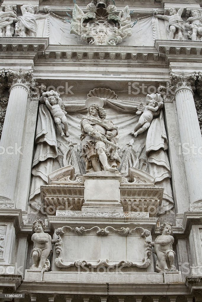 Ornate Church Exterior in Venice Italy royalty-free stock photo