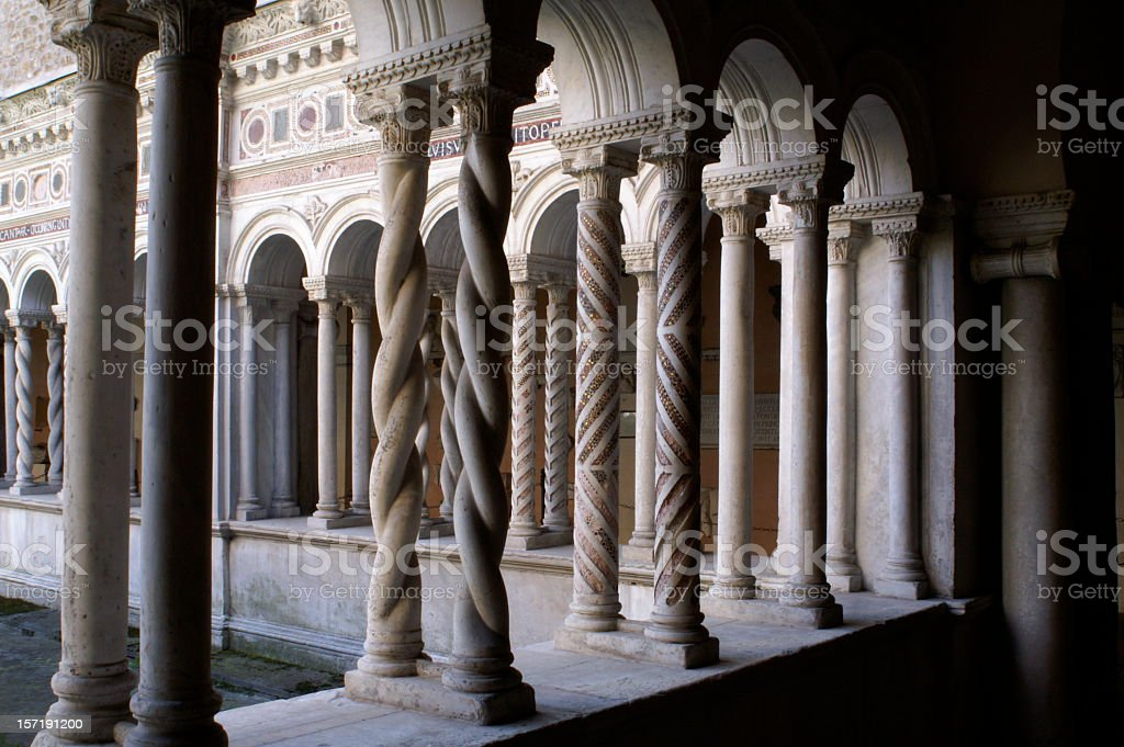Ornate Columns of Cloister at San Giovanni in Laterano, Rome stock photo