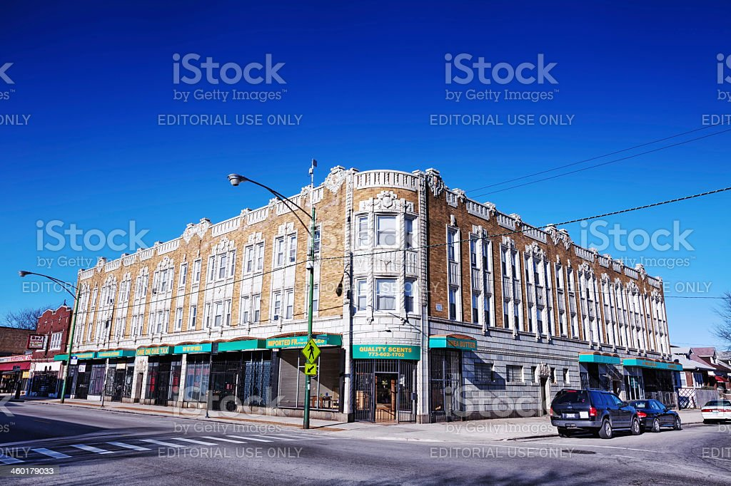 Ornate commercial building in Greater Grand Crossing, Chicago stock photo