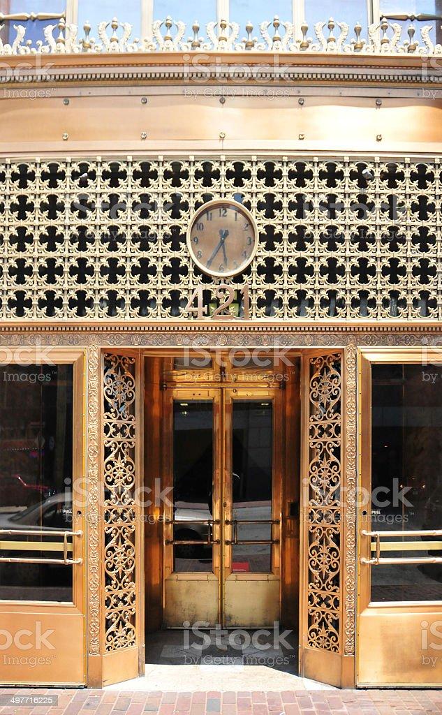 Ornate copper facade stock photo