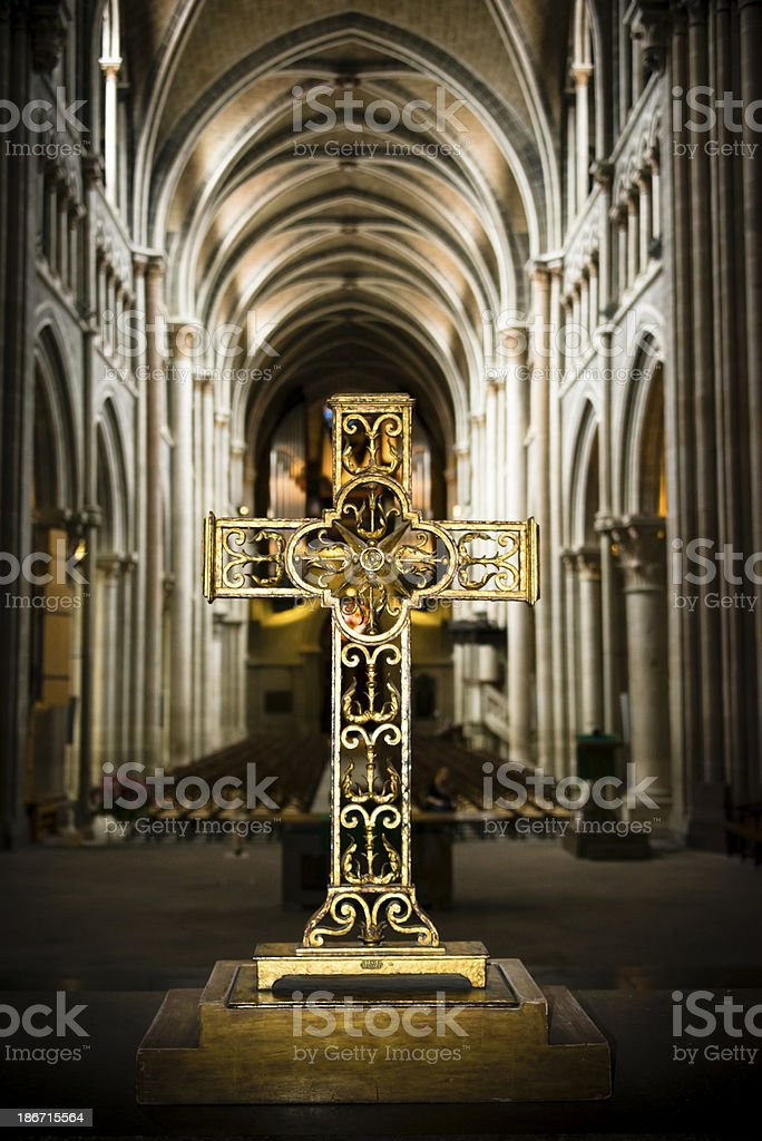 Ornate crucifix inside cathedral -XXXL royalty-free stock photo