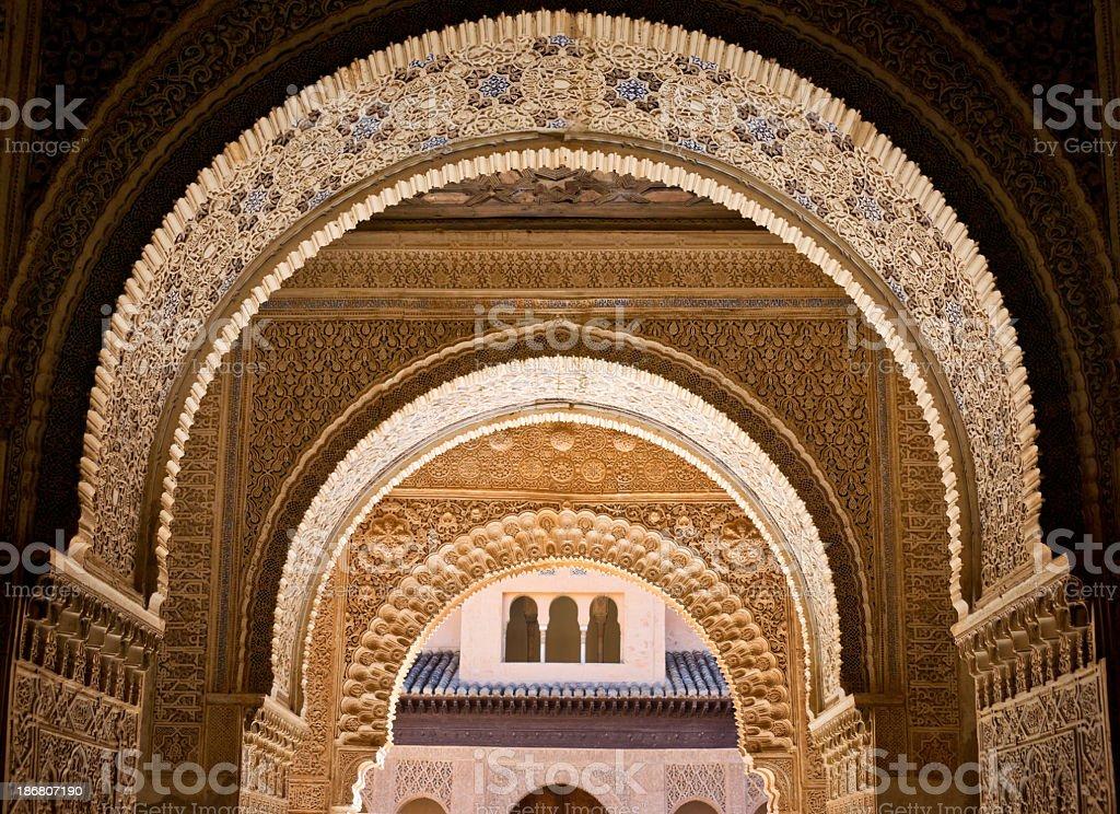 Ornate decoration at Albambra Palace in Granada, Spain stock photo