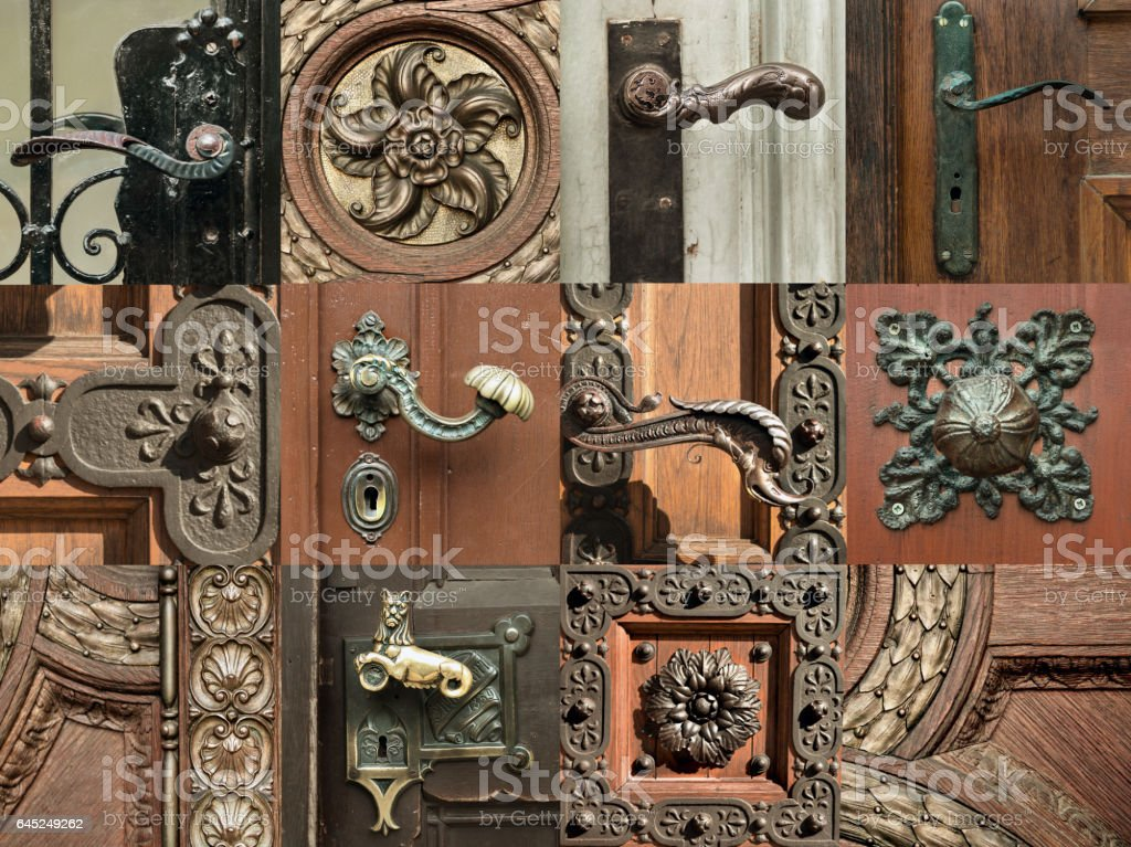 Ornate decorations on old doors in Budapest, picture set stock photo