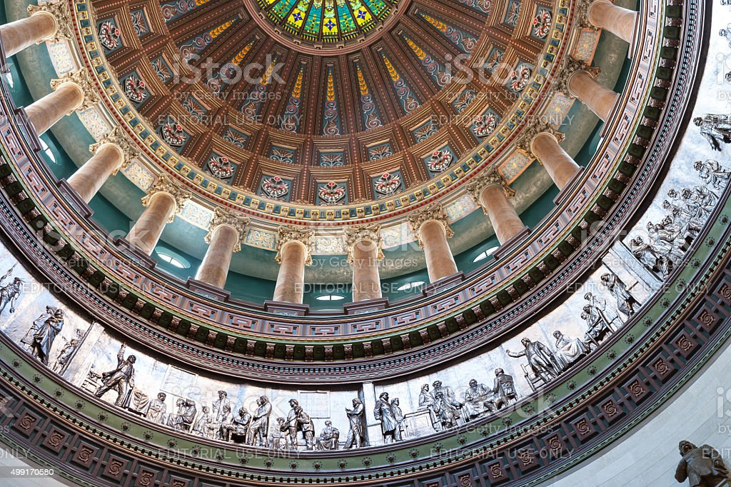 Ornate dome inside state capital building, Springfield, Illinois stock photo