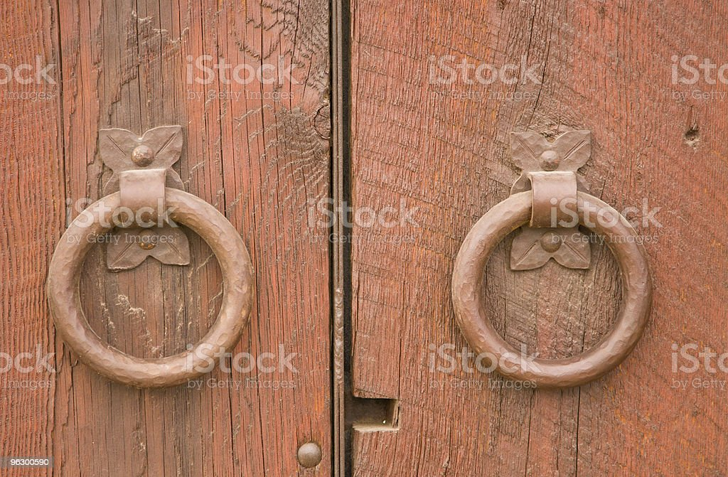 Ornate Door Knockers, Entrance, Wood, Fixture, Ring-Shape, Red, Two Objects royalty-free stock photo