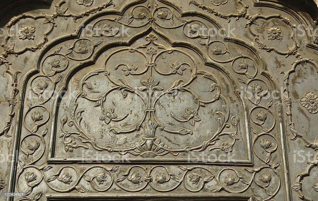 Ornate door panel stock photo