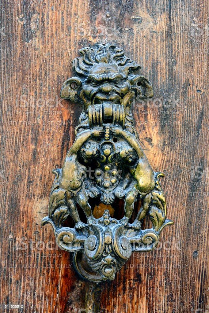 Ornate doorhandle in Mosta, Malta. stock photo