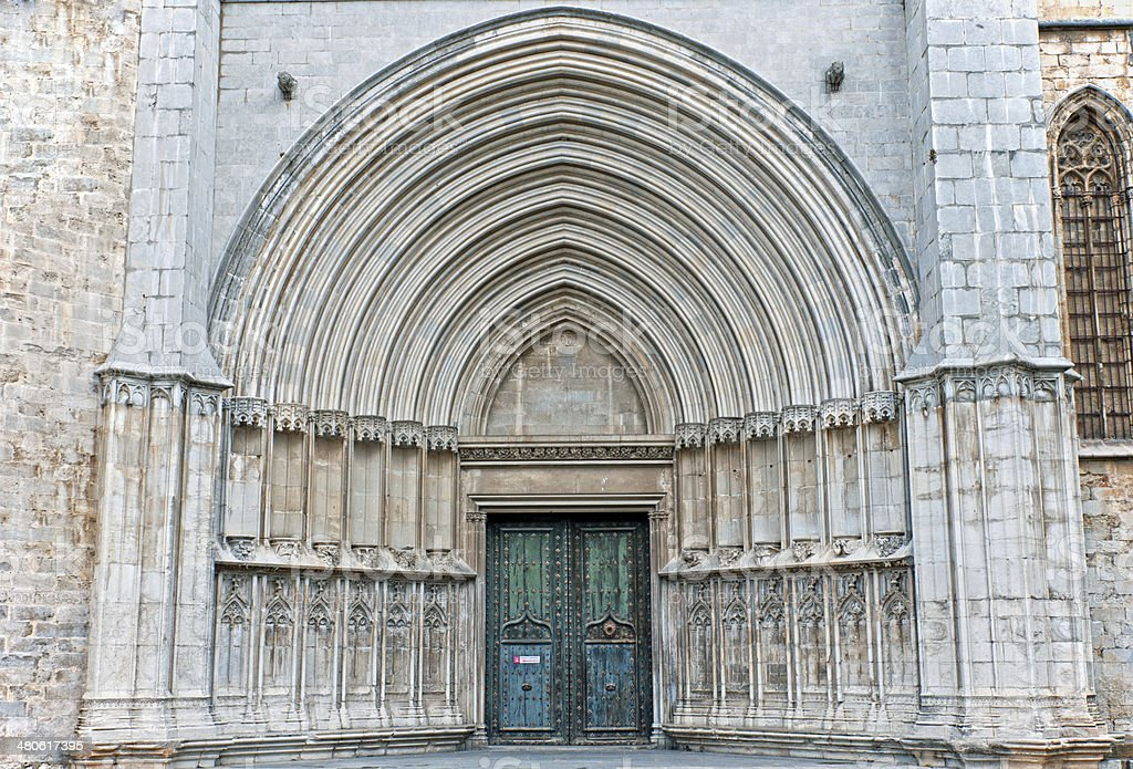 Ornate entrance from square to cathedral in Spain stock photo