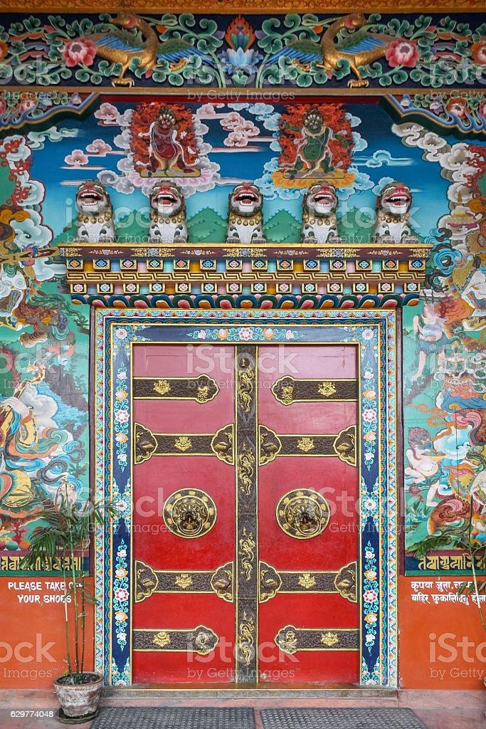 Ornate Entrance of the Tamang Gompa in Kathmandu Nepal stock photo