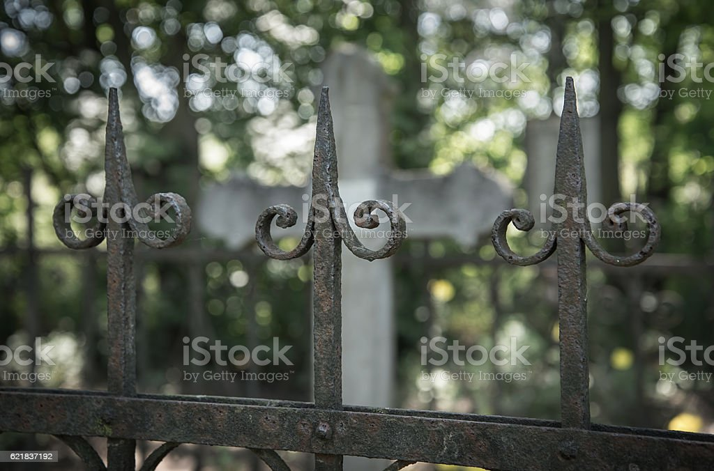 Ornate fence in the cemetery stock photo