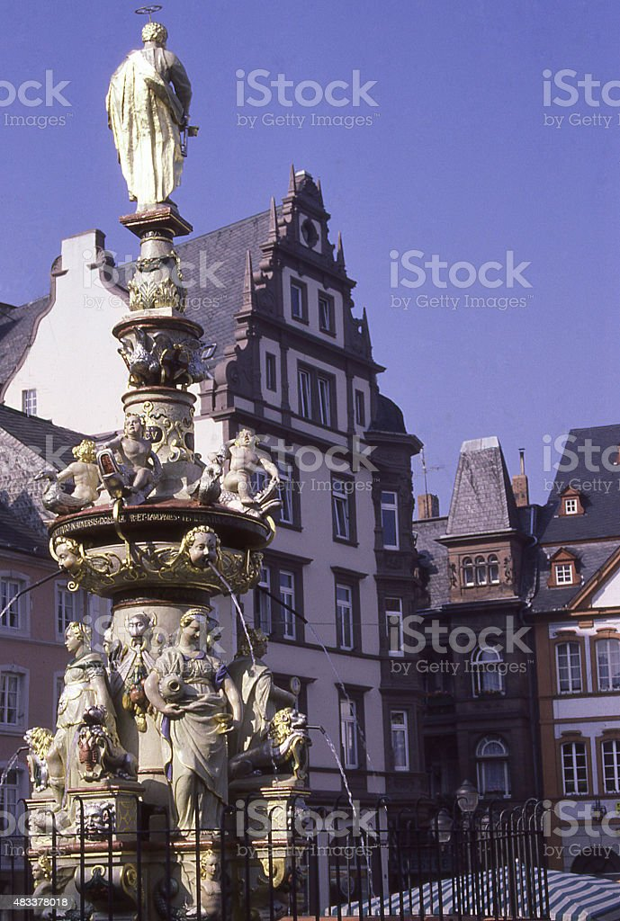Ornate Fountain and statuary in public plaza Trier Germany stock photo