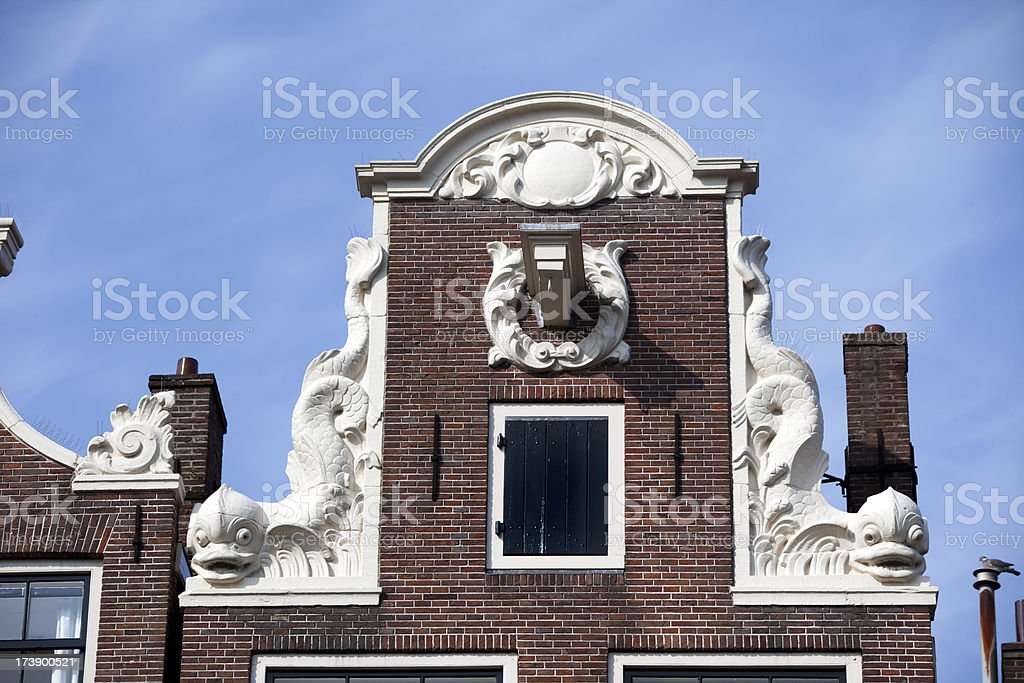 Ornate Gabled House in Amsterdam royalty-free stock photo