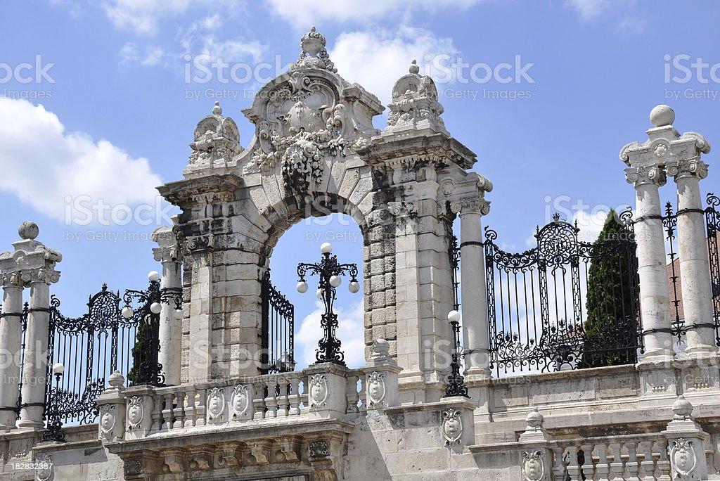 ornate gate of the Royal Palace Buda, Budapest, Hungary royalty-free stock photo