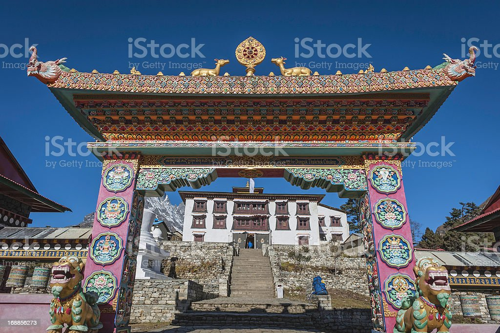 Ornate gate to Buddhist monastery Tengboche Khumbu Himalayas Nepal royalty-free stock photo