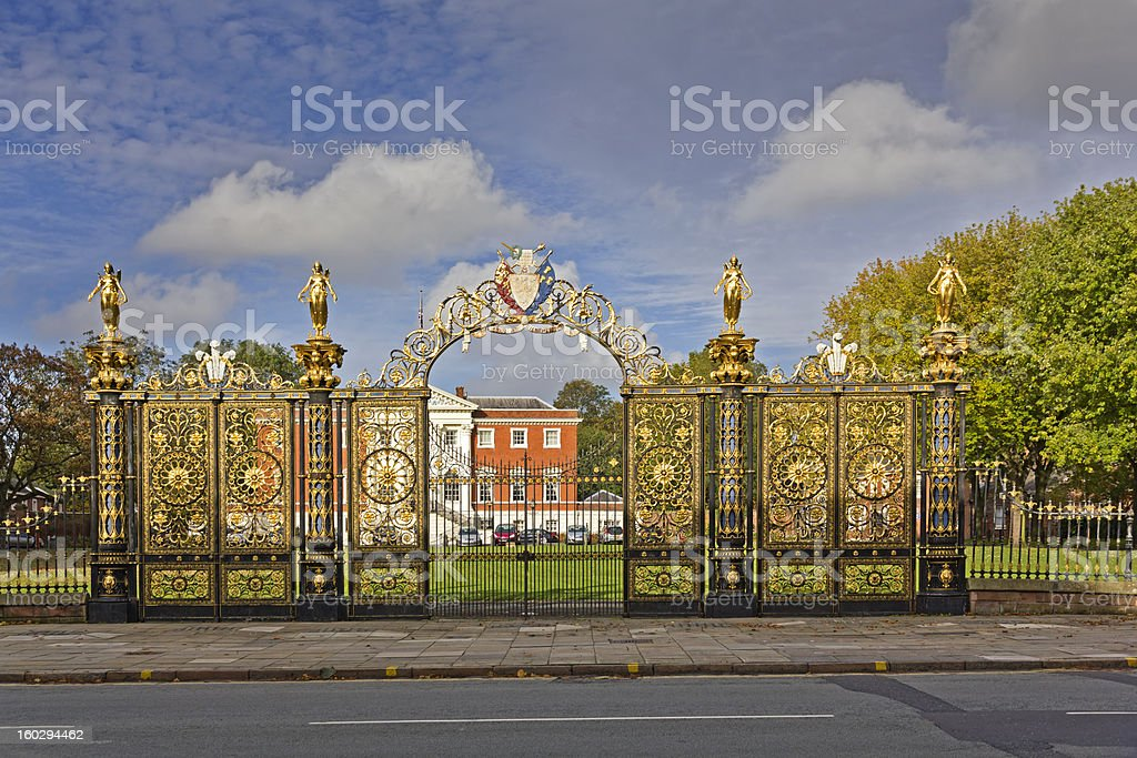 Ornate gates in front of Warrington Town Hall, Cheshire stock photo