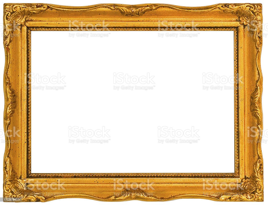 Ornate Gilded 5X7 Picture Frame.  Isolated with Clipping Path royalty-free stock photo