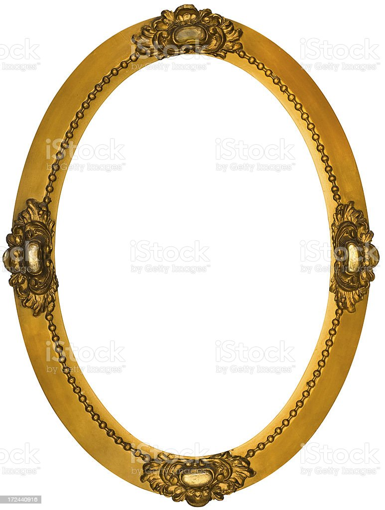 Ornate Gilded Oval Picture Frame.  Isolated with Clipping Path royalty-free stock photo