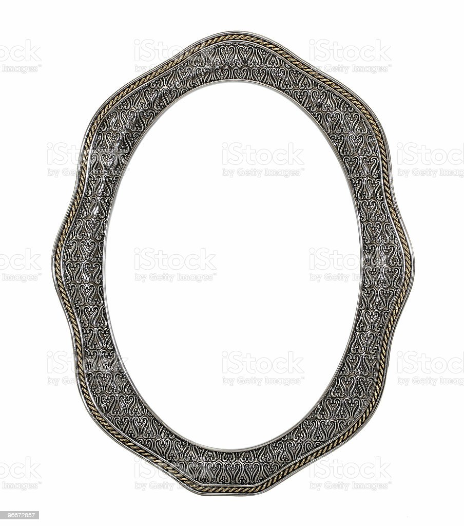 Ornate Gold And Silver Oval Frame royalty-free stock photo