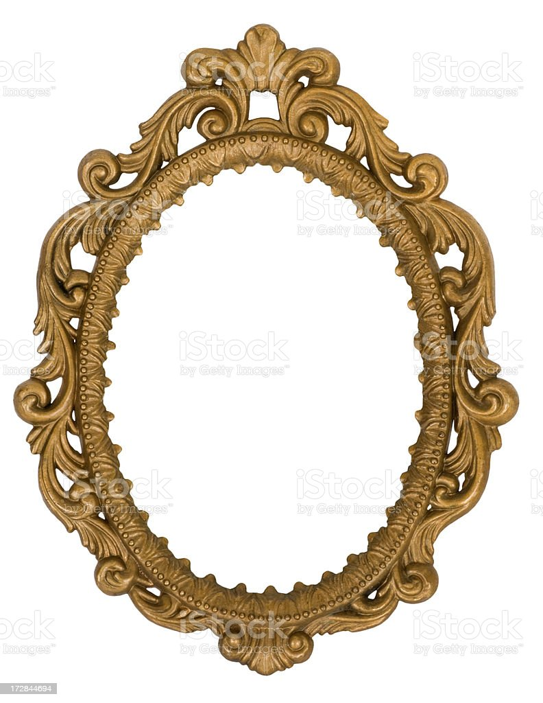 Ornate golden oval mirror frame isolated on white background stock photo