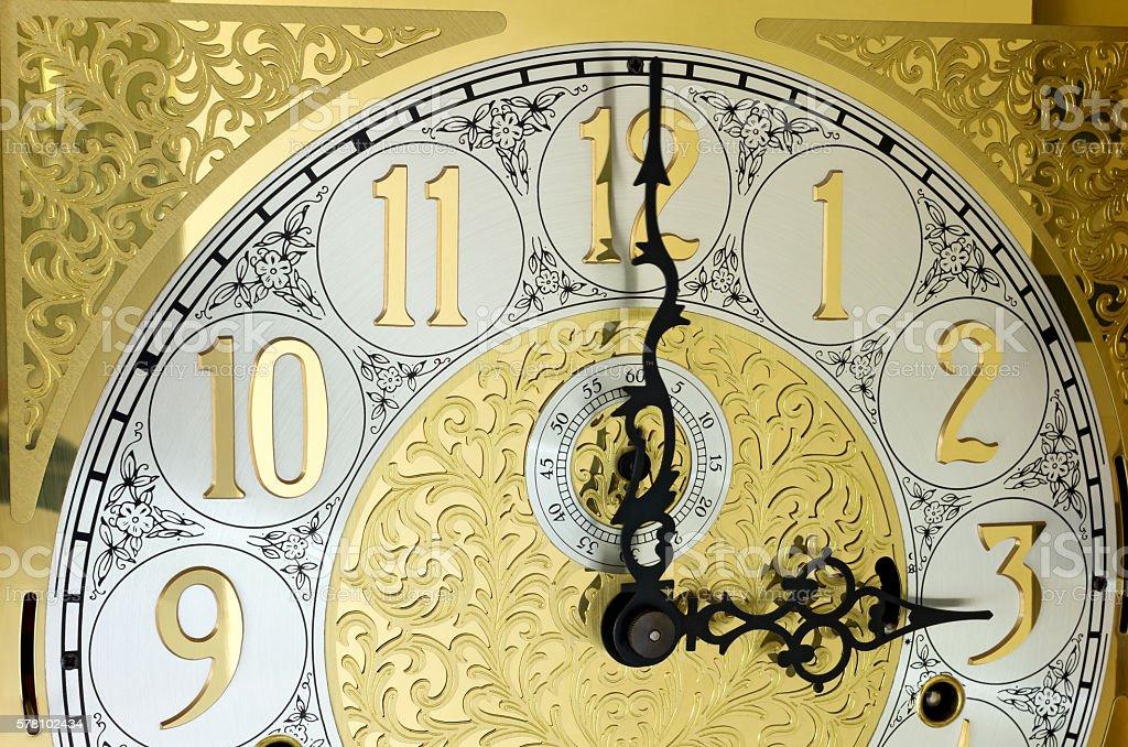 Ornate Grandfather Clock Face stock photo
