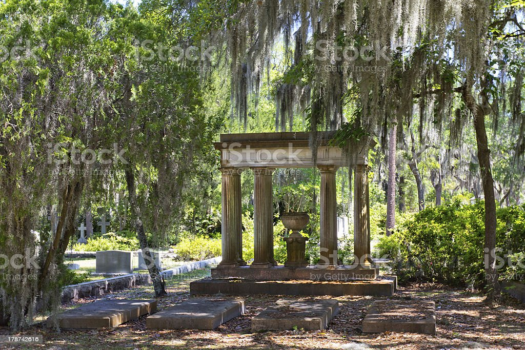 Ornate Grave at Historic Bonaventure Cemetery stock photo