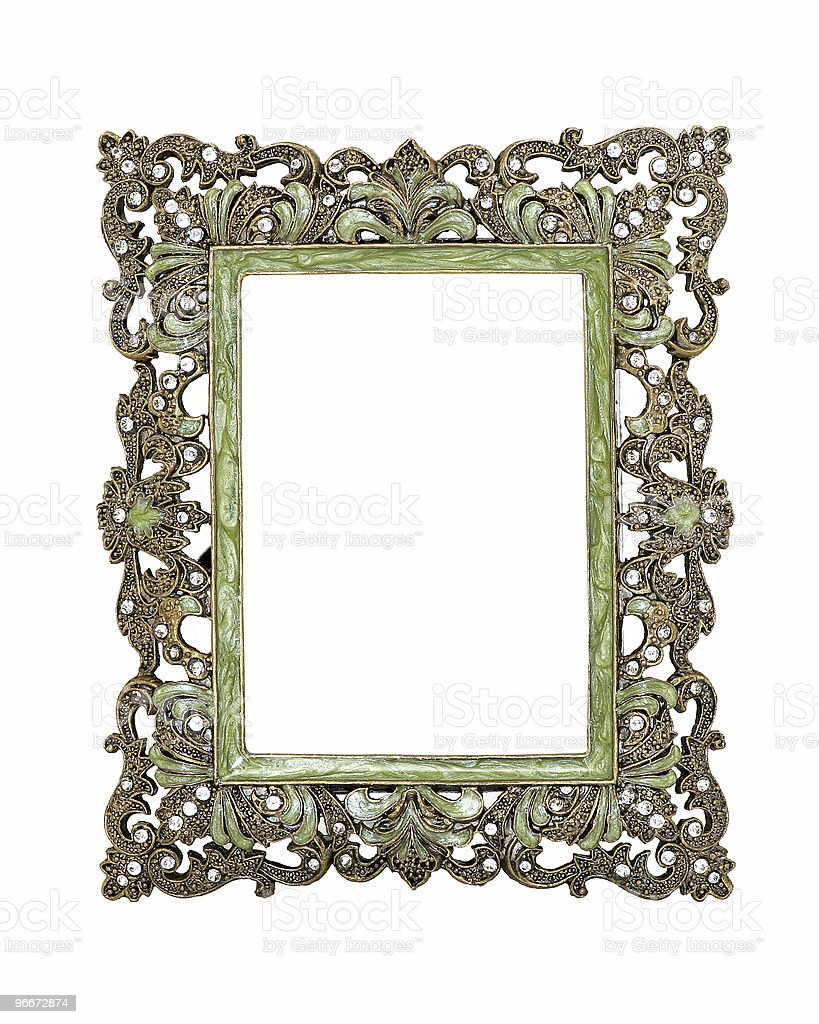 Ornate Green And Gold Frame royalty-free stock photo
