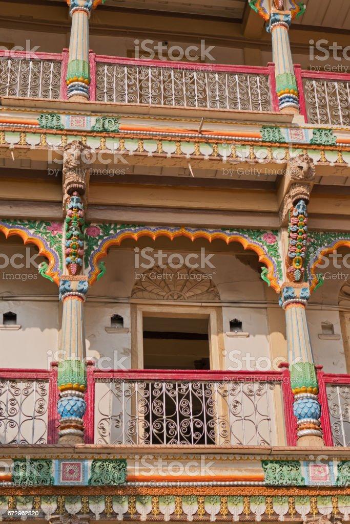 Ornate Hindu lodgings in Gujarat stock photo