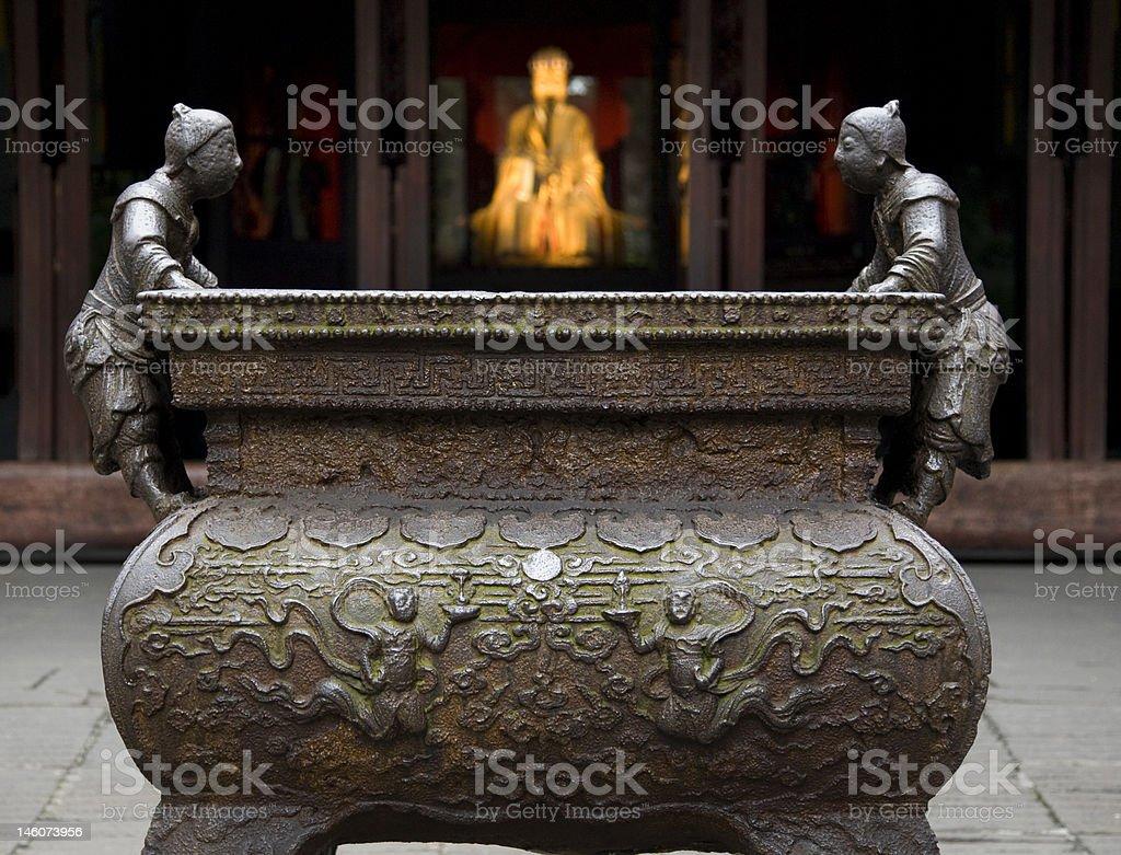 Ornate Iron Incense Pot Three Kingdoms Temple Chengdu Sichuan China stock photo