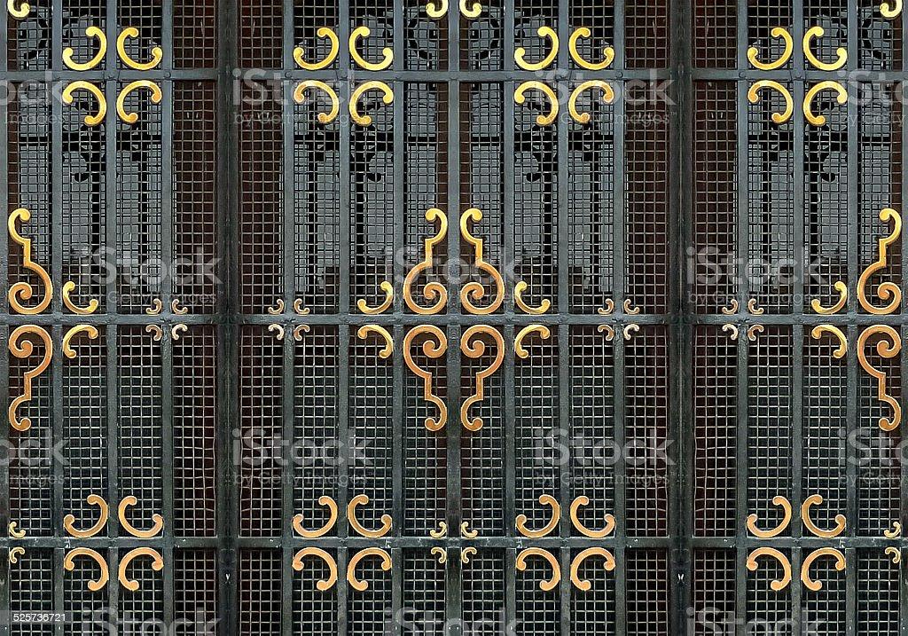 Ornate Iron Window Detail stock photo