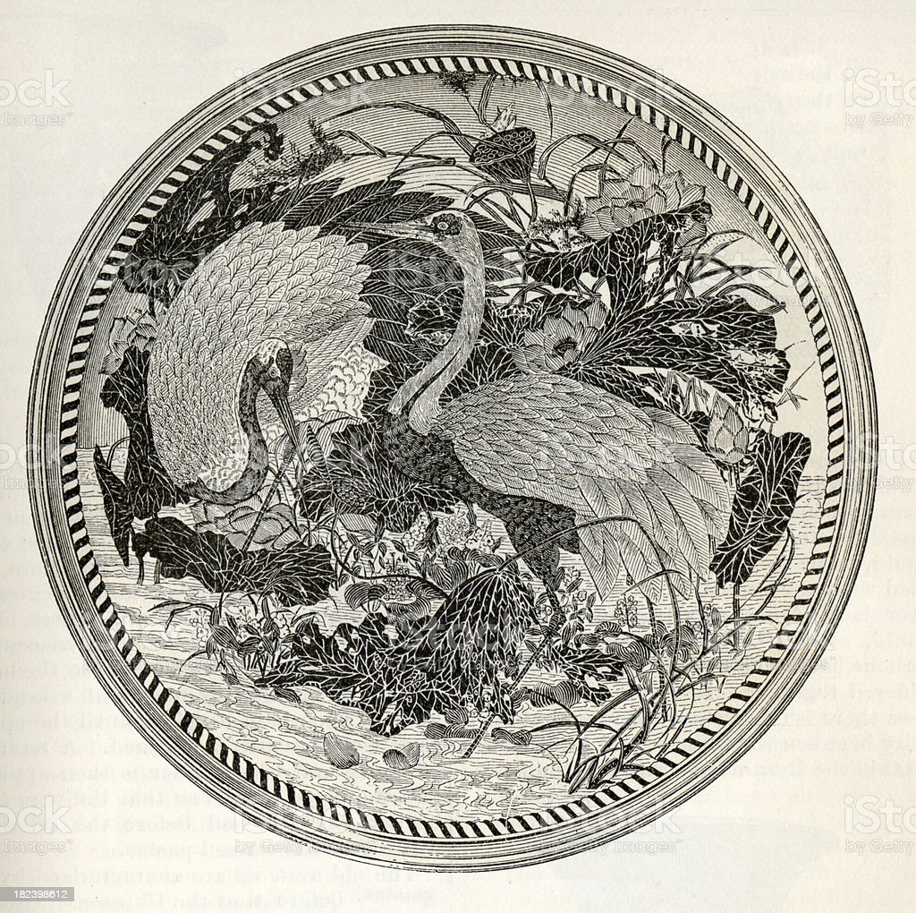 Ornate Japanese Plate stock photo