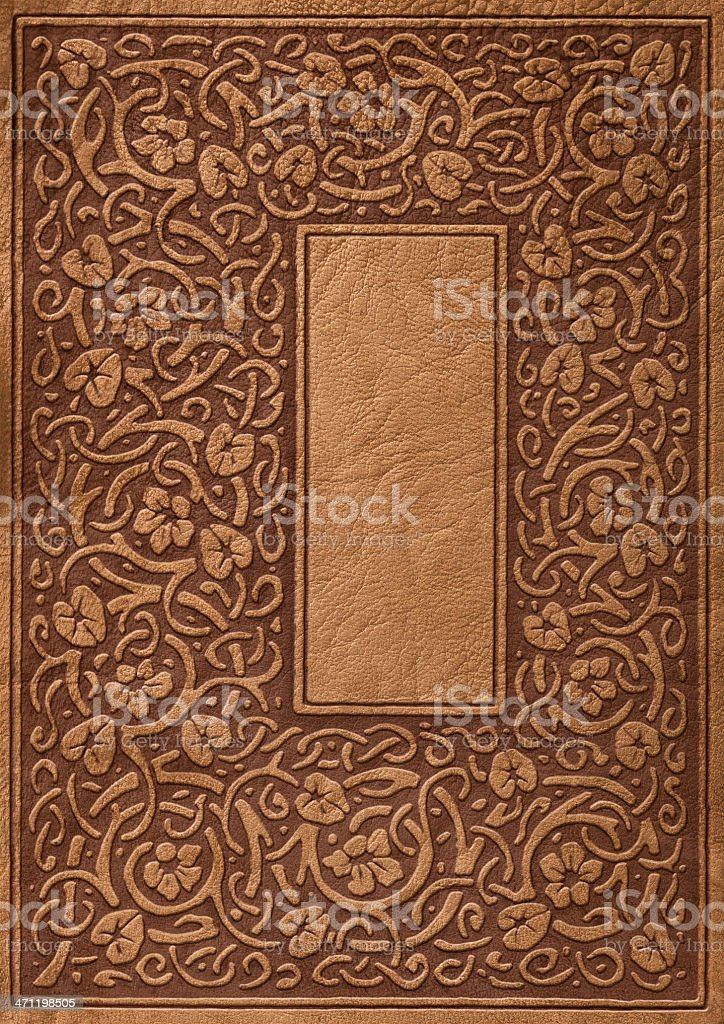 Ornate Leather Book Cover Background stock photo