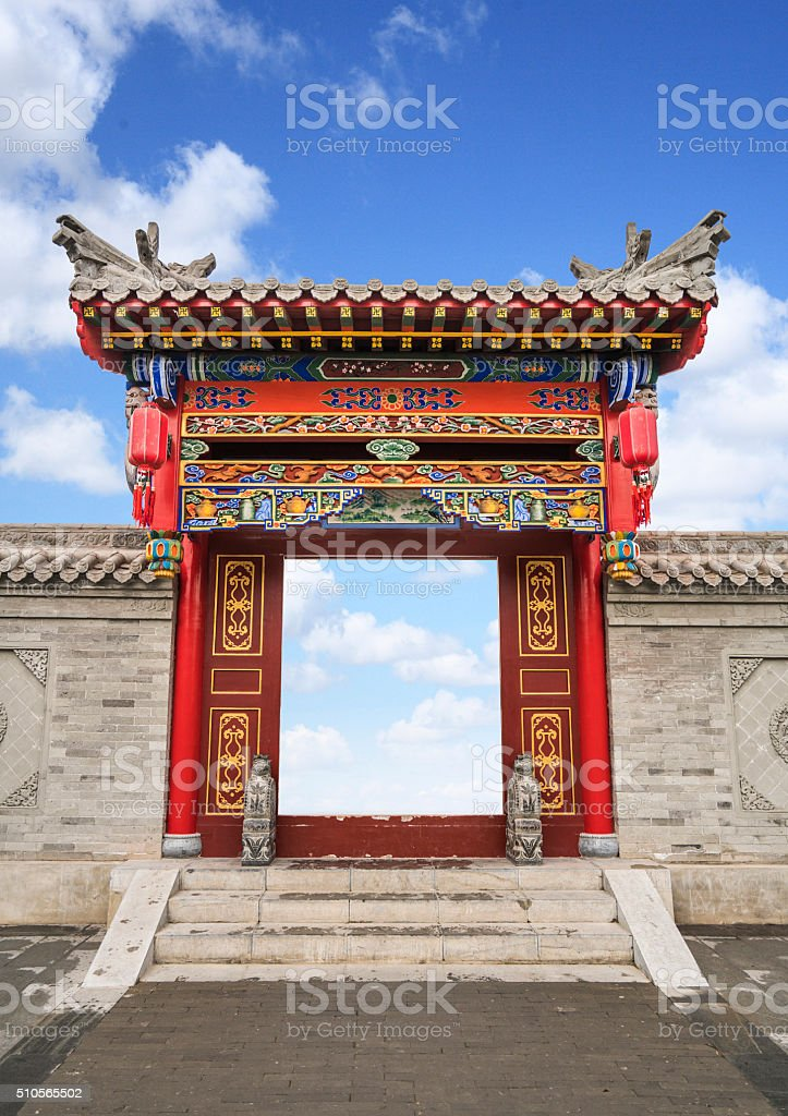 Ornate Narrow Passage in Forbidden City, Beijing stock photo