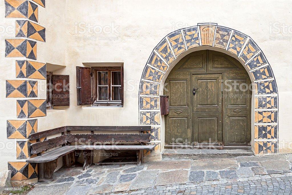 Ornate old door stock photo