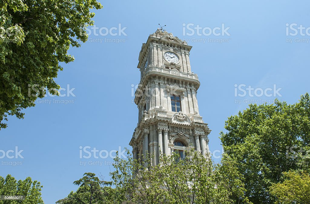Ornate ottoman clock tower in istanbul stock photo