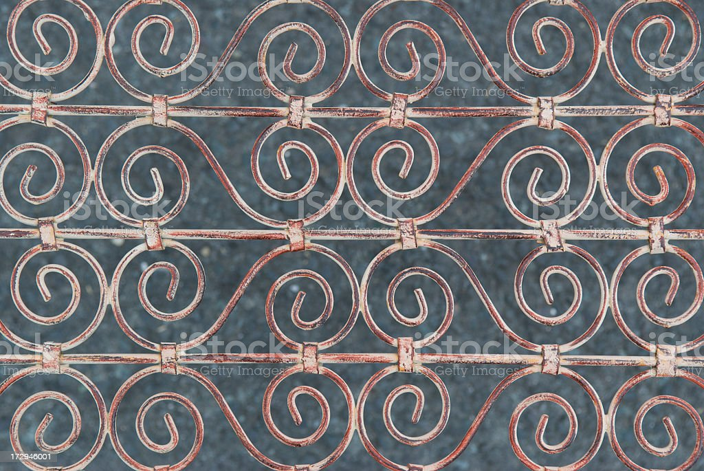 Ornate Painted Iron Gate Weathered and Rust royalty-free stock photo