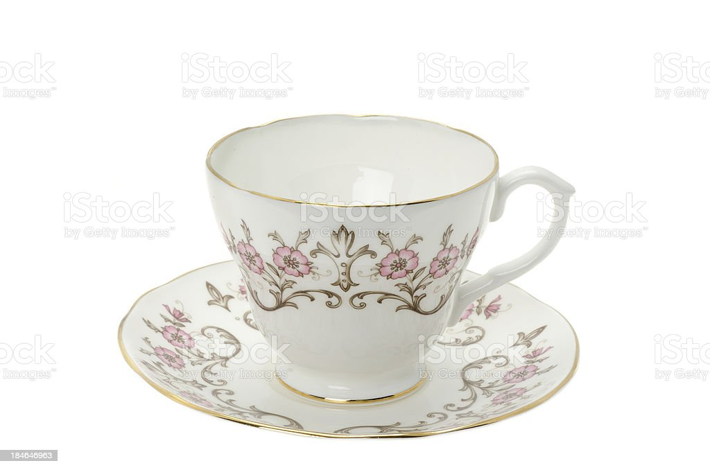 Ornate patterned bone china tea cup and saucer royalty-free stock photo