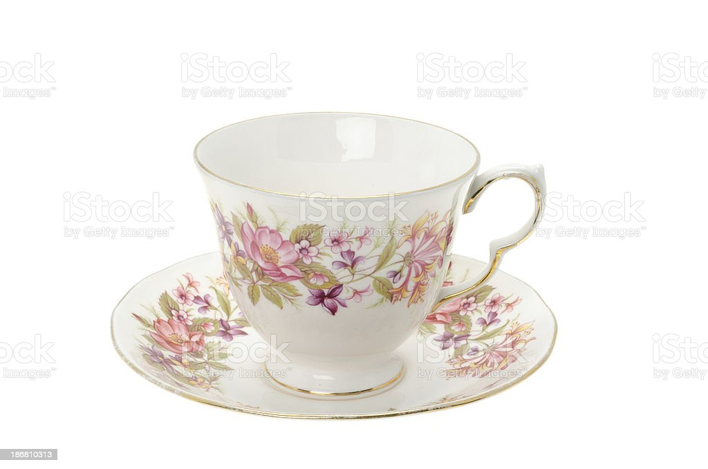 Ornate patterned bone china tea cup and saucer stock photo