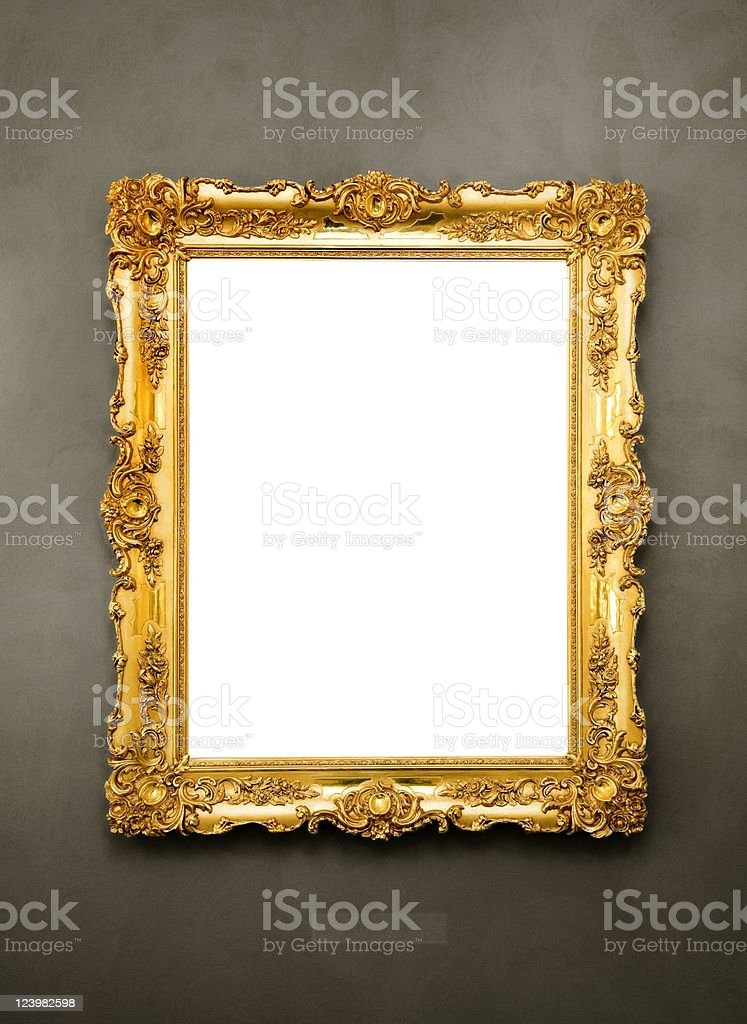Ornate picture frame hanging on a wall stock photo